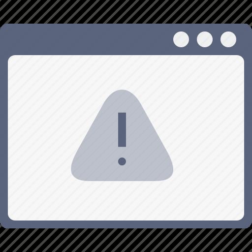 alert, browser, caution, danger, error, webpage, window icon