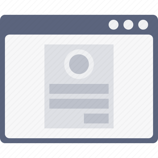 account, app, card, login, profile, webpage, window icon