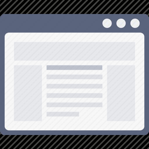 advertiesment, blog, grid, layout, newsfeed, webpage, window icon