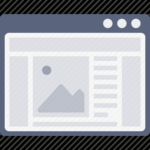 blog, browser, design, grid, layout, webpage, window icon