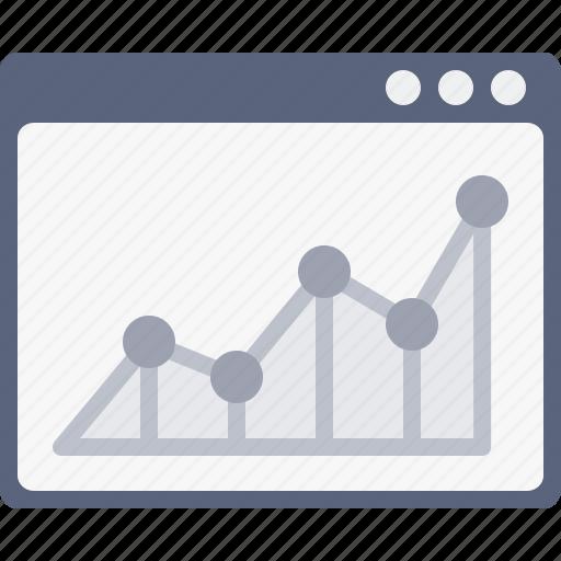 analysis, chart, measure, performance, statics, webpage, window icon