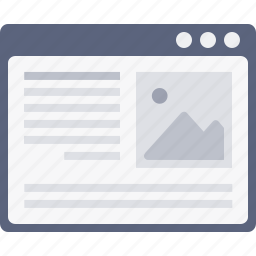 blog, content, layout, photo, webpage, window, wireframe icon