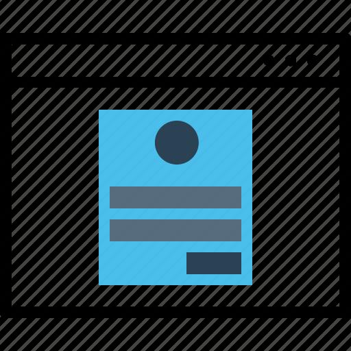 app, application, login, profile, user, webpage, window icon