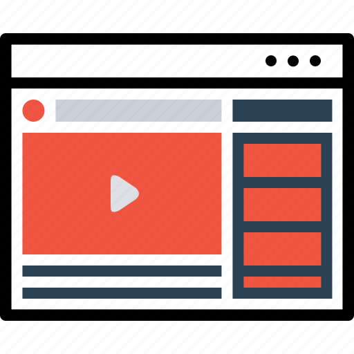 design, layout, page, video, web, window, youtube icon