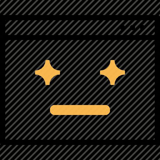 design, favorite, layout, smiley, star, webpage, window icon