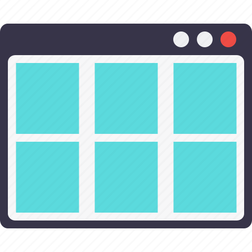 browser, grid, layout, page, webpage, window, wireframe icon