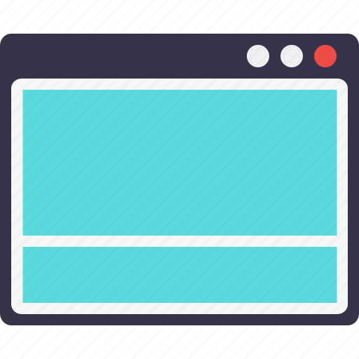 browser, footer, header, layout, webpage, window, wireframe icon