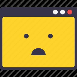 application, browser, confuse, error, smiley, webpage, window icon