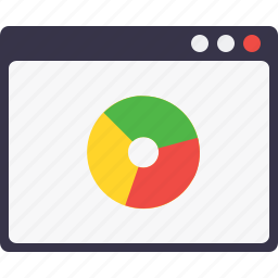 analysis, graph, measure, performance, pie chart, webpage, window icon