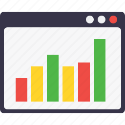 column, graph, measure, performace, statics, webpage, window layout icon
