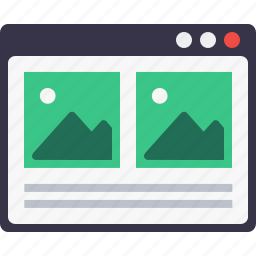 blog, browser, layout, photo, webpage, window, wireframe icon