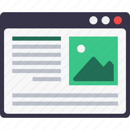 blog, browser, content, layout, photo, webpage, wireframe icon