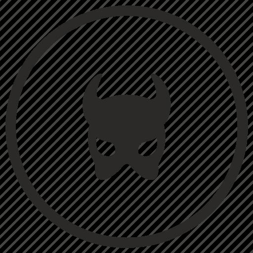 devil, evil, mask, round icon