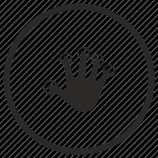 biometry, finger, hand, round icon