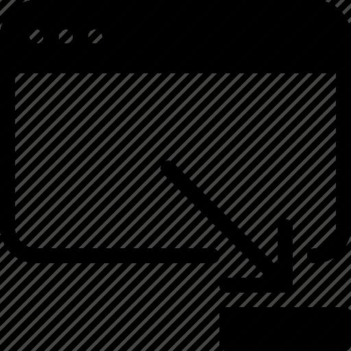 application, arrow, minimize, reduce, resize, screen, web icon