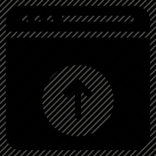 arrow, browser, internet, upload, webpage icon