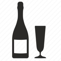 bocal, bottle, champagne, label icon