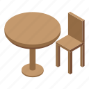 cartoon, chair, fashion, frame, isometric, table, wood