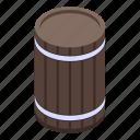 barrel, cartoon, food, isometric, old, retro, wine