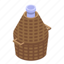 basket, bottle, cartoon, family, glass, isometric, wine