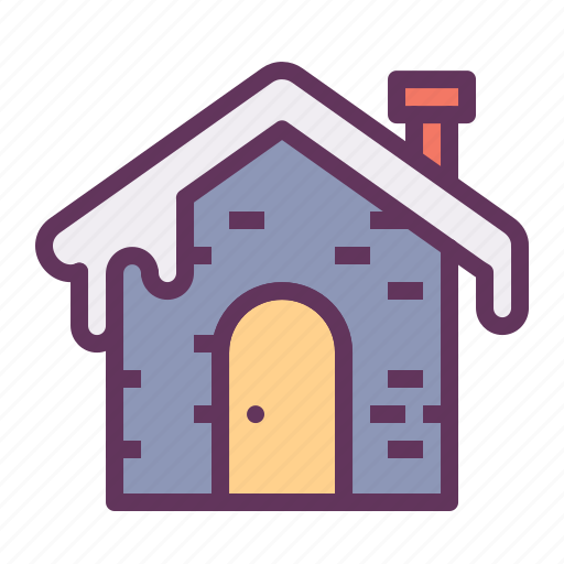 cabin, cold, fall, home, roof, snow, winter icon