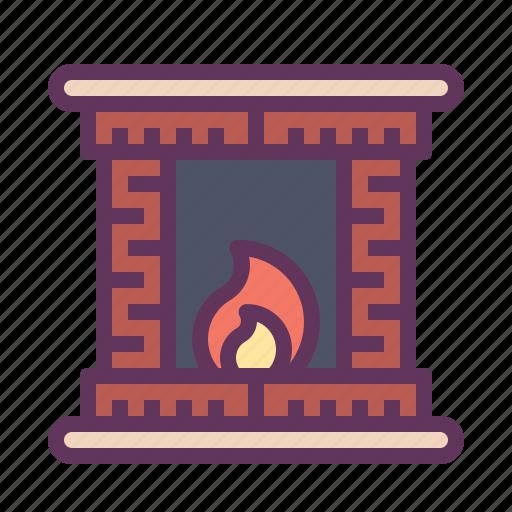 cabin, fire, heat, light, winter, wooden icon