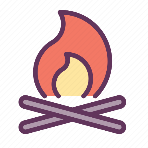 camp, fire, flame, light, wooden icon