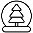 ball, snow, tree, winter icon