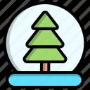 ball, snow, tree, winter icon