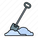 winter, tools, snow, shovel
