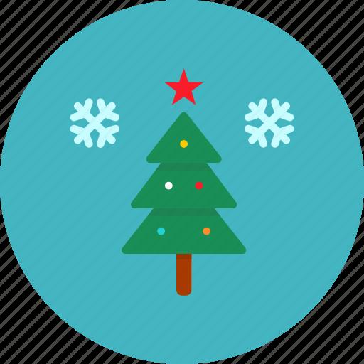 celebration, christmas, decoration, snow, star, tree, winter icon
