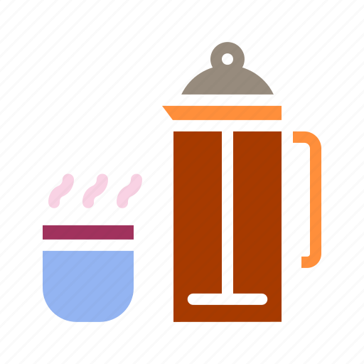 coffee, cup, drink, flask, hot, presser, thermos icon