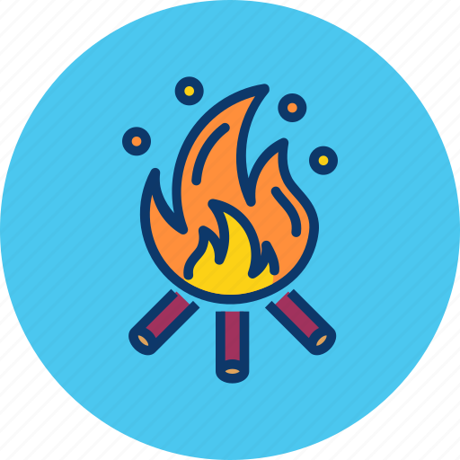 bonfire, camping, fire, heat, hot, warm, wood icon