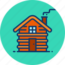 cabin, chimney, cold, cottage, winter, wood, wooden icon