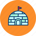 cold, eskimo, house, igloo, north pole, snow, winter icon