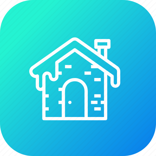 cabin, fall, home, house, roof, snow, winter icon