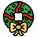 christmas, decoration, element, garland, holly, wreath icon