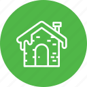cabin, cold, fall, house, roof, snow, winter icon