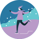 activity, ice skating, seasonal, snowfall, winter icon