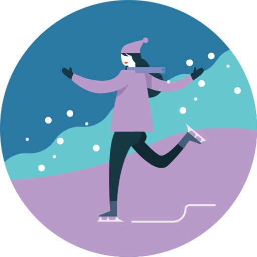 activity, ice skating, seasonal, snowfall, winter icon