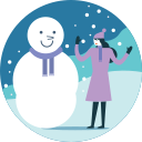 activity, fun, making, snowfall, snowman, winter icon