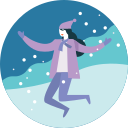 activity, happy, jump, presure, winter, fun, snowfall icon