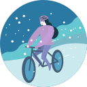 activity, bicycle, cycling, riding, sport, transportation, winter icon