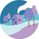 home, house, snowfall, suburban, village, winter icon