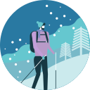 activity, backpack, hiking, man, mountain, tree, winter icon