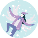 activity, happy, snowfall, winter, woman, lying down icon