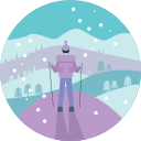 activity, cold, hiking, man, people, view, winter icon