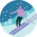 activity, man, mountian, ski, skiing, snowfall, winter icon