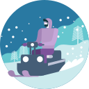 activity, drive, man, snowfall, transportation, winter icon
