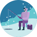 activity, fishing, ice, lake, snowfall, winter icon